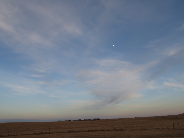 Prairie moon and sky